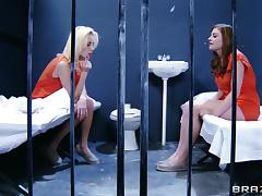 Kiara Diane & Sovereign Syre have lesbian fun in a jail in reality clip