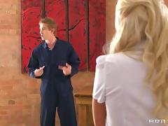 Blonde Carla Cox is a college coed who gets nailed by a handyman