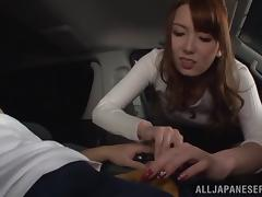 Seductive Asian bimbo moans while being hammered hardcore in a car