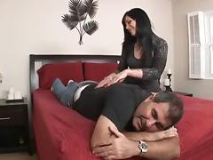 Andy San Dimas Makes Her Cuckold Lick Up Spunk