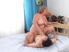 Voluptuous granny is wicked skilled at riding his hard dick