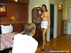 Mini-skirt clad cougar with big natural tits getting her pussy fingered