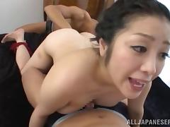 Curvy Asian cougar with huge tits enjoying a fabulous threesome