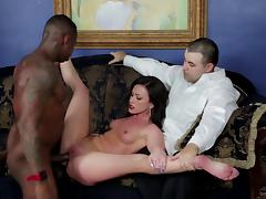 Slutty brunette gets banged by a big black cock in an electrifying cuckold clip