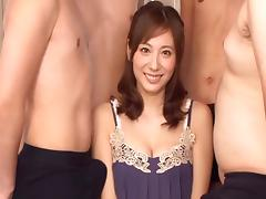 Cum-thirsty Asian dame is being gang banged in this nasty and hot clip