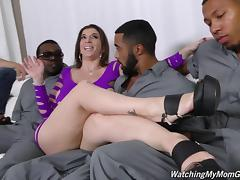 White boy watches Sara Jay get laid in an interracial gangbang