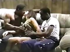 Curvy wife gets fucked by two ebony guys.