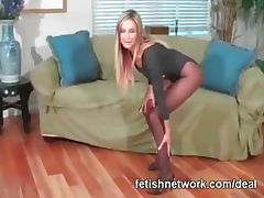 Pantyhose feet tease
