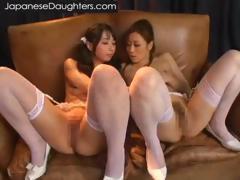 Japanese girls kiss in lingerie