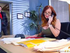 Fake tits slut Dani Jensen fucked in the office