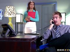 Secretary's job includes giving her boss regular blowjobs