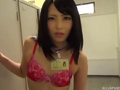 Sluttiest Asian office babe gives a blowjob to her boss