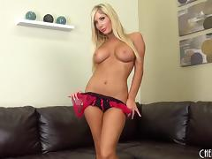 Long blonde hair beauty spreads her sexy legs and fucks a toy