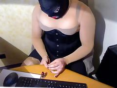 Nails fetisch clared red black corset and sheer stringbody