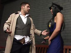 Curvy police office takes the dick as deep into the pussy as possible