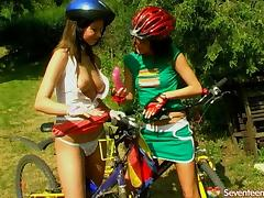 Hot girls out for a bike ride stop to have a lesbian picnic