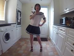 Wife in School uniform Dancing Striptease