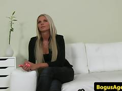 Office amateur titfucked for fake casting