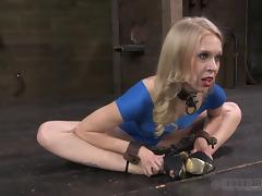 Blonde in a blue dress stripped and whipped by hunks