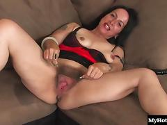 Raunchy mature slut spreads her hirsute twat and rams it with a dildo