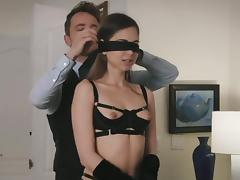 Emma Marx blindfolded before an awesome erotic affair