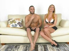 Big-busted Britney Amber has her belly and cunt creamed
