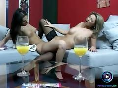 Lesbian actions featuring Caroline Cage and Eve Angel