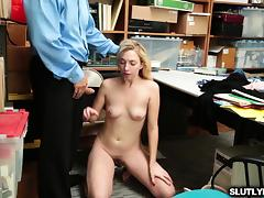 Blondie drops on her knees to suck the LP Officers cock