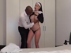 Reverend brown preaches to a junior nun