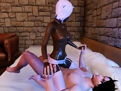 Beautiful Black Scene Girl Rides A Big White Cock!
