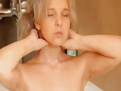 Shaving of neat 18yo blonde pussy