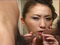 Asian 3some with hoe sucking dicks