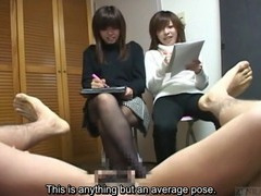 Subtitled weird Japanese CFNM erection art class sketch