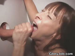Dirty Brunette Amateur Cock Slut Sucking At Glory Hole