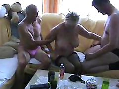 Blonde Mature Sucks Cock and Gets Banged Amateur Bisexual Threesome