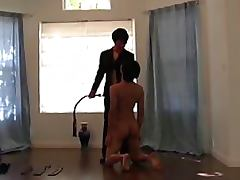 Submissive Guy Gets His Ass Whipped and Spanked By a Mature Dominatrix