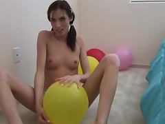 Balloon Toying With The Naughty Brunette Sophie Crus
