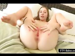 Teen auburn fills her fuck holes with cucumber
