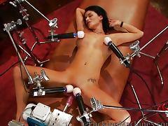 Brunette covered in vibrators