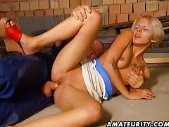 Small tit blonde takes a big cock in her butt