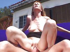 Blond mature slut outside pussy play