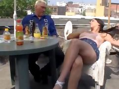 Old Timer Gives Horny Brunette Teen One Hell Of A Fuck