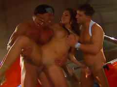 Sweet babe Daisy Marie is getting fucked by two dicks