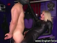 Dominatrix controlling her subject