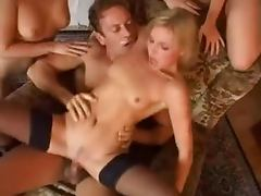 Three sexy and naughty sirens are surrounding his dick