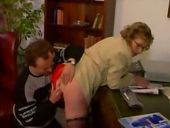 Mature bitch in glasses gets her pussy pounded hard indoors