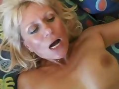 Granny Plays With Herself And Then Gets A Faceful Of Cum