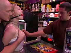 Lily Labeau blows and gets brutally fucked in a shop