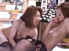 2 Asian Widows Sucking And Fucking With Doubledildo On The Mattress In The Shrine