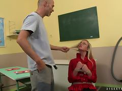 Two tied up girls get fucked hard in a classroom